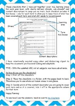 Australian Curriculum Checklists - Year 1 (version 8.3)