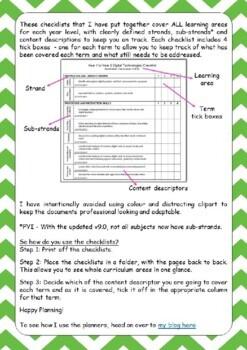 Australian Curriculum Checklists - Year 2 (version 8.3)