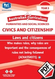 Australian Curriculum Civics and Citizenship – Law and citizens – Year 3
