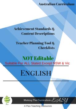 Australian Curriculum Achievement Standard & Curriculum Tracker -Y4 ENGLISH