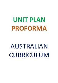 Australian Curriculum English Unit  Plan Proforma