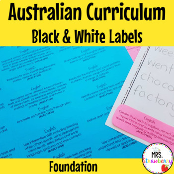 Australian Curriculum Foundation Learning Outcome Labels/ Tags – Black & White