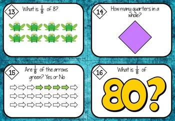 Australian Curriculum Fractions Worksheets and Task Cards Year 2