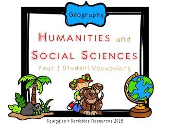 Australian Curriculum Geography Student Vocabulary - Year 1