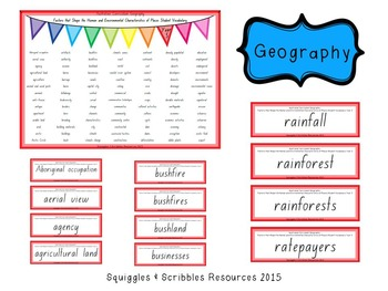 Australian Curriculum Geography Student Vocabulary - Year 5