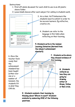 Australian Curriculum Grade 5 Visible Learning Student Assessment Log