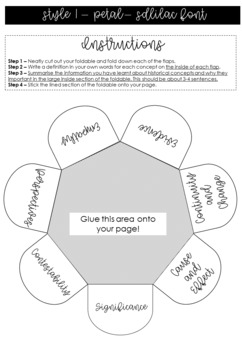 Australian Curriculum - History concepts foldables and wordsearch
