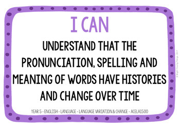 Australian Curriculum 'I Can' Posters - Year 5 Standards and Elaborations