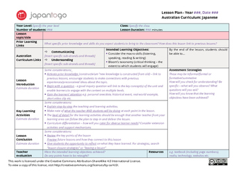 outstanding lesson plan template - australian curriculum japanese lesson plan template