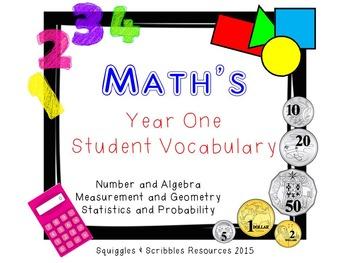 Australian Curriculum Mathematics Student Vocabulary - Year 1