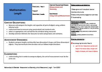 Australian Curriculum Mathematics- Year One Unit of Work on Length
