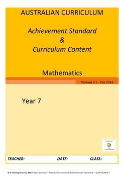Australian Curriculum Maths Achievement Standard & Curricu