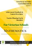Australian Curriculum Maths Checklists  Level 1 Victorian Curriculum