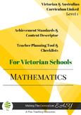 Australian Curriculum Maths Checklists  Level 1 Victorian
