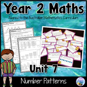Australian Curriculum Number Patterns Worksheets and Task Cards Year 2
