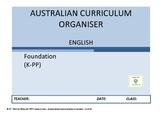 Australian Curriculum Organiser English (editable) - K-PP