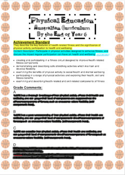 Australian Curriculum Physical Education End of Year 6 Report Comments