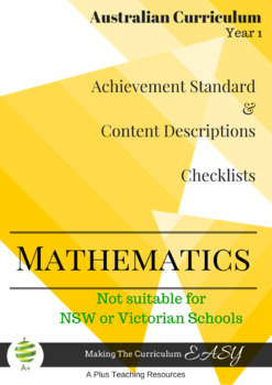 Australian Curriculum Planning Tool & Checklists - YEAR 1 MATHS