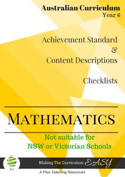 Australian Curriculum Planning Tool & Checklists - YEAR 6 MATHS