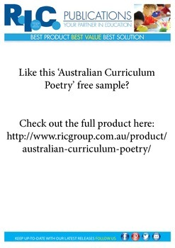 Australian Curriculum Poetry. Year 4. Sample unit.