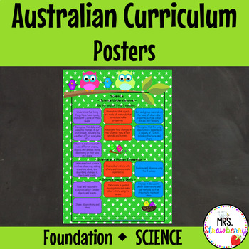 Foundation Australian Curriculum Science Posters