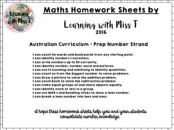 Australian Curriculum Prep Number Homework