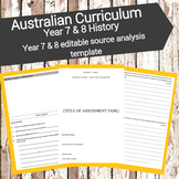 Australian Curriculum - History - Year 7 & 8 editable source analysis template