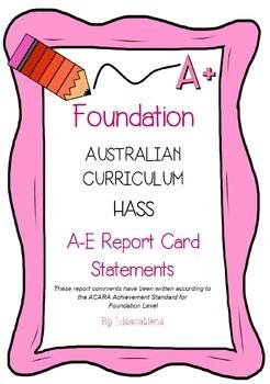 Australian Curriculum Report Comments Foundation - Humanities & Social Sciences