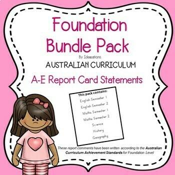 Australian Curriculum Report Comments - Foundation Level Bundle Pack