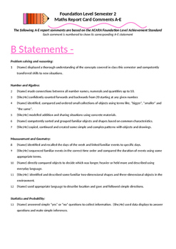 Australian Curriculum Report Comments Foundation Level - Maths Semester 2