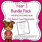 Australian Curriculum Report Comments - Year 1 Bundle Pack