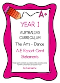 Australian Curriculum Report Comments Year 1 - The Arts - Dance