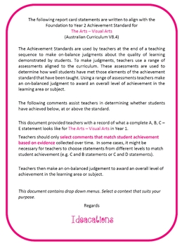 Australian Curriculum Report Comments Year 1 - The Arts - Visual Arts