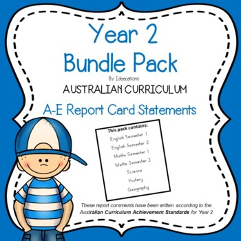 Australian Curriculum Report Comments - Year 2 Bundle Pack