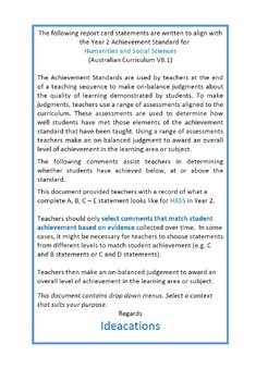 Australian Curriculum Report Comments Year 2 - Humanities & Social Sciences