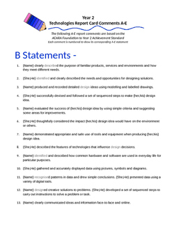 Australian Curriculum Report Comments Year 2 - Technologies