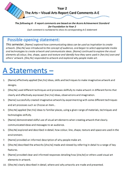 Australian Curriculum Report Comments Year 2 - The Arts - Visual Arts