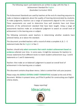 Australian Curriculum Report Comments Year 3 - English Semester 2
