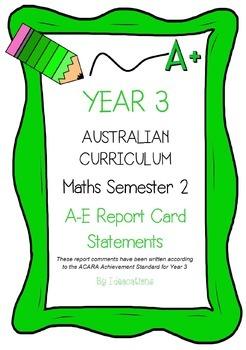 Australian Curriculum Report Comments Year 3 - Maths Semester 2