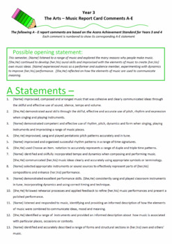 Australian Curriculum Report Comments Year 3 - The Arts - Music