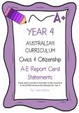 Australian Curriculum Report Comments Year 4 - Civics & Citizenship