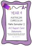 Australian Curriculum Report Comments Year 4 - Maths Semester 2