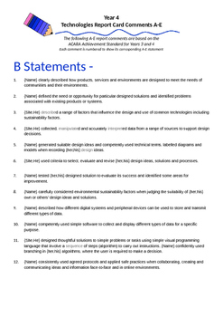 Australian Curriculum Report Comments Year 4 - Technologies