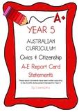 Australian Curriculum Report Comments Year 5 - Civics & Citizenship