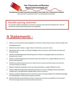 Australian Curriculum Report Comments Year 5 - Economics & Business