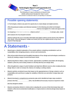 Australian Curriculum Report Comments Year 5 - Technologies