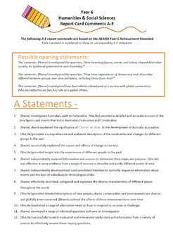 Australian Curriculum Report Comments Year 6 - Humanities & Social Sciences