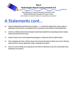 Australian Curriculum Report Comments Year 6 - Technologies