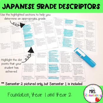 Australian Curriculum Reporting Grade Descriptors: Japanese BUNDLE