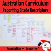 Foundation ENGLISH MATHS Australian Curriculum Reporting Grade Descriptors Sem 1
